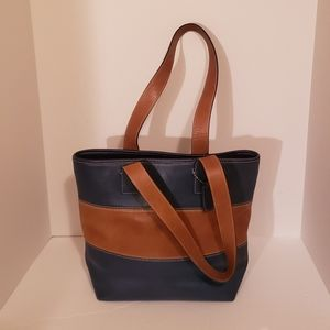 Coach Leather Purse Tote Bag Bue Brown